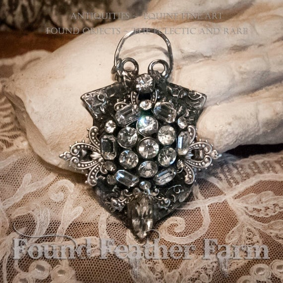 Handmade Jewelry Pendant with Vintage Jewelry, Rhinestones and Nickel Silver Lace Fretwork Details