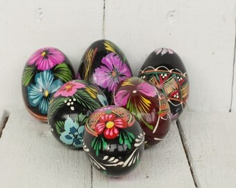 Russian easter eggs Antique easter Pysanka wood egg Easter decor Painted wooden eggs Easter gift Holiday home decor Wooden souvenir