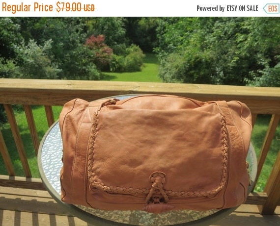 Football Days Sale Price Reduced! McNeor Bright Tan Soft Leather Duffel Multiple Compartments, Braided Leather Trim and Zippered Closure - O