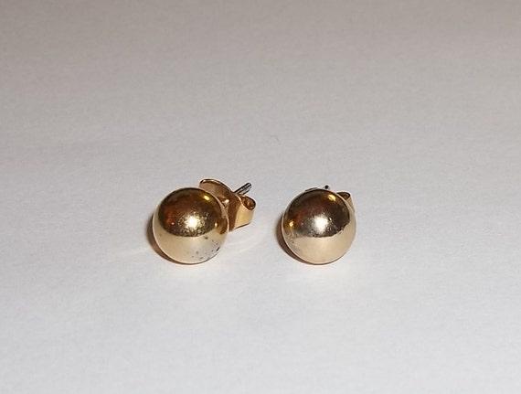 Vintage Gold Tone 8mm Ball Stud Post Back Earrings