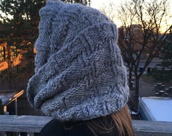 Grey Cowl Wrap