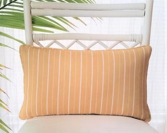 Tuscan Yellow Cream Striped Pillow Cover - Striped pillow -Tuscan yellow, goldenrod, yellow, cream, white