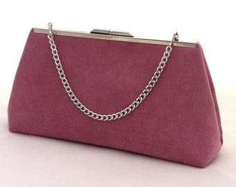 Rose Suede Handbag ~ Rose Purse Clutch ~ Pink Suede Purse ~ Ready to Ship