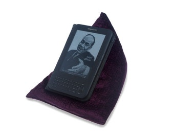 Edge Beanbags Purple Techbed - A Kindle cushion, iPad pillow, tablet or book beanbag stand for reading and watching movies in bed
