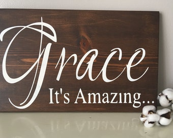 Amazing Grace Wood Sign - Religious Decor - Rustic Wall Art - Christian Wall Art - Inspirational Decor - Wood Sign - Amazing Grace