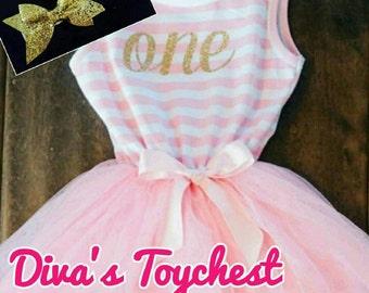 1st Birthday Dress- Birthday Dress-12M-Pink Party Dress-Gold Dress-Pink tutu-First Birthday Party