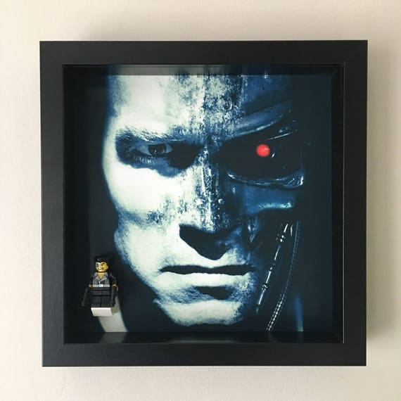 The Terminator Minifigure Frame, Mum, Gift, Geek, Box, Dad, Idea, For Her, For Him, Valentine, Comic, Lego, Art, Frames, Framed, Birthday