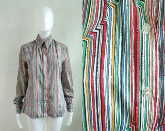 40%offAug18-21 60s colorful striped blouse size medium, 1960s button down top mad men secretary blouse, womens collared top