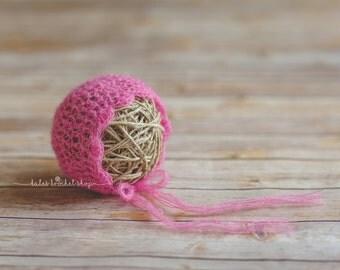 Pink Mohair Bonnet