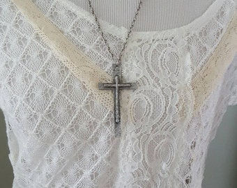 Vintage Pewter Cross Necklace....Strong and sturdy.. .Earthy and primitive