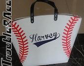 Personalized Baseball Mom Tote Bags White Baseball Bag Tote Bag Spirit Wear Custom Last Name Nickname Number