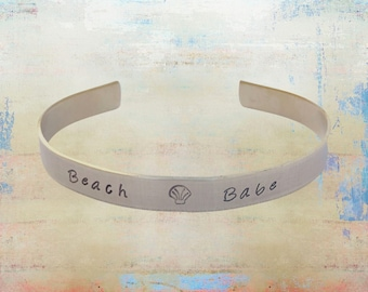 "Beach Babe Hand Stamped - Seashell Bracelet Ocean Inspired Sea Jewelry - Mermaid Bracelet - beach gifts - 1/4"" brass..."
