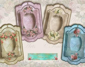 victorianische Geschenanhänger romantisch, DIY, gift tags Jewelry Holders Digital Collage Sheet Vintage Paper Scrapbooking clip art