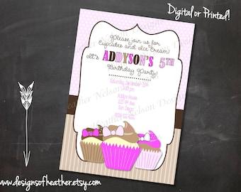 Cupcake Digital  Birthday Invitation