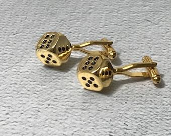 Gold Dice cufflinks, Dice cufflinks, Gambling cufflinks, Gold cufflinks, Snake Eyes cufflinks, Casino cufflinks