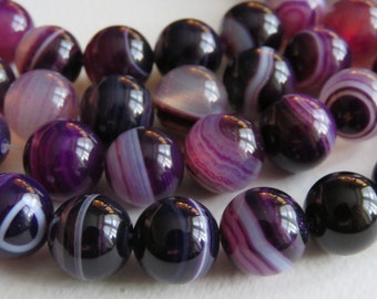 """Purple Banded Agate Round Gemstone Beads. 12mm Approx. 15.5"""" Strand."""