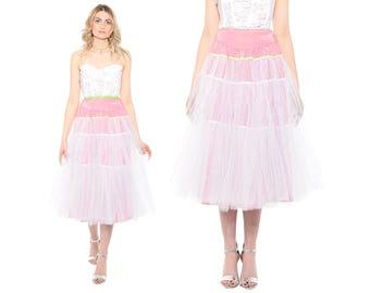Vintage 60s High Waist PINK Tulle Ballerina Crinoline Slip Full Skirt Midi XS *Free Shipping U.S.* vtg