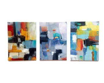 Set of Three abstract paintings. Contemporary art. Small original abstract art. Small abstract art. Colorful Modern art. Trending art. bold