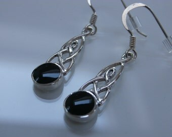 WHITBY JET Celtic round Drop Earrings in solid sterling silver