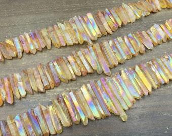 Raw Orange Yellow Quartz Points Aura Yellow Quartz Crystal Points Wholesale Quartz Stick Spike Pendant Beads Graduated Mystic 6-8*22-45mm