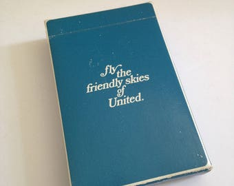 Vintage United Airlines Playing Cards, In Flight Playing Cards, Full Deck, Airline Collectible, Blue, Fly The Friendly Skies