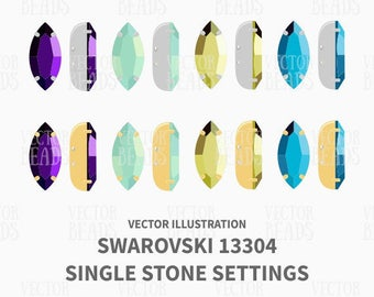 Swarovski Navette Single Stone Settings 13304 Vector Illustration - ai, eps, pdf,png