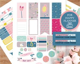 Happy Planner Stickers, Flower Weekly Planner Stickers, Floral Happy Planner, Printable Planner Stickers, Summer MAMBI Stickers Kit