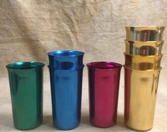 aluminum cups 1950s anodized atomic age sunburst vintage drinking glass tumbler