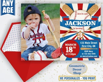 Vintage Baseball Birthday invitation / Sports Invite / All star invitations / First Ball red blue invites boy girl photo photograph BDSP6