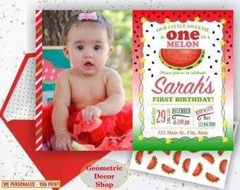 Watermelon Birthday invitation, one in a melon, summer, printable watermelon invite, invitations, red, green, pink, photo, photograph BDW3