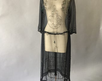 1920s beaded chiffon silk dress    Wounded