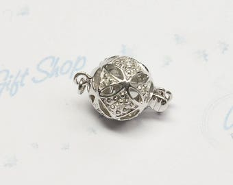 14K Solid White gold Diamond Bead Clasp - about 10mm