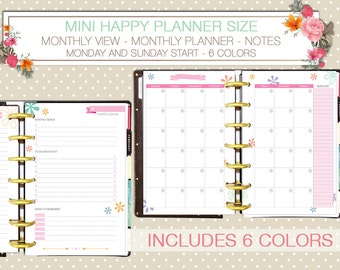Mini happy planner printable monthly planner on 4 pages notes to do list monday start sunday start