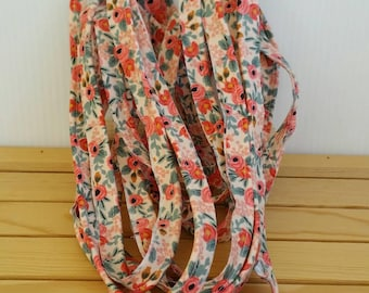 NEW Piping: 4 yards of cotton + steel les fleurs Peach Rosa