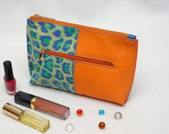 Womens gift for her Leather Make up Bag Cosmetic Bag Leather Purse Leather Pouch Orange Lime Blue Leather Makeup Bag Cosmetic Organizer