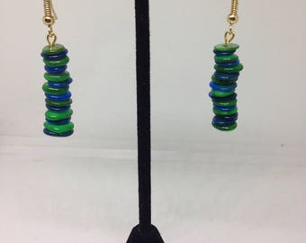 Green and Blue Shell Earrings