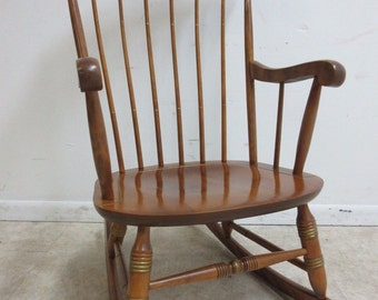 Nichols and Stone Maple Paint Decorated Rocker Rocking Lounge Chair