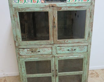 Antique Primitive architectural salvage Hutch China Cabinet Cupboard N