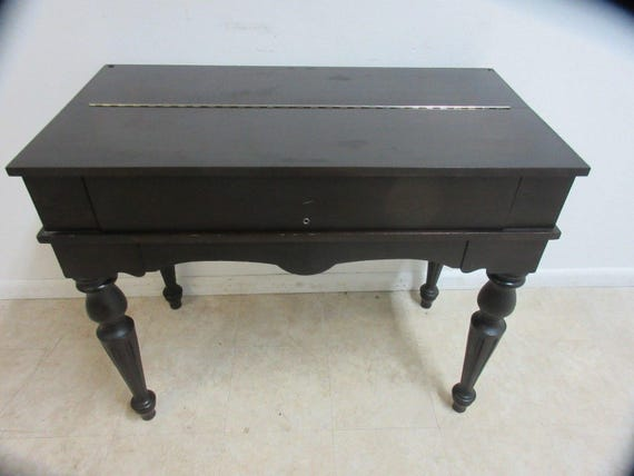 - Antique Empire Mahogany Flip Top Spinet Ladies Writing Desk A