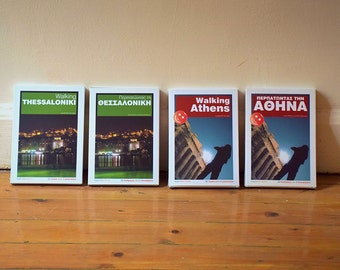 Athens and Thessaloniki self-guided walking tours on pocket sized cards