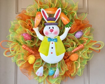 Easter Wreath with Cute Bunny Juggling Carrots, Glittered Easter Eggs and Carrots