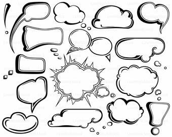 Speech Bubbles svg,comic clipart,comic svg,Speech Bubbles silhouette,comic cricut,dialogue cut files,clouds clip art,digital,svg,designs