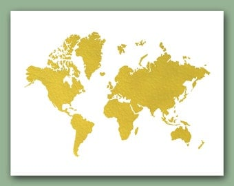 World Map Print, Real Gold Foil Print, map Wall Decor, world print, wold map decor, Map of the world, gold map print