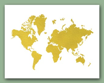 World Map Print, Real Gold Foil Print, map Wall Decor, world print, world map artwork, wold map decor, Map of the world, gold map print