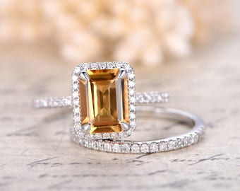 Citrine Engagement Ring Set 6x8mm Emerald Cut Citrine Ring and Diamond Wedding Band Half Eternity band Bridal Wedding ring set 14K W/G