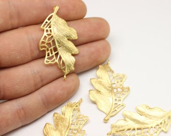 2 Pcs 22 K Gold Plated Leaf Pendant,Necklace Jewelry, Gold Plated Leaf Charm 25mm x 44mm Large Leaf Design Connector With Two Hole  KST 034