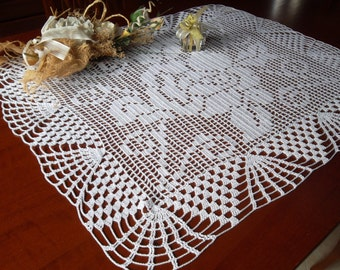 large crochet table runner lace doily rectangular tablecloth white cotton placemat religious decor wedding birthday easter gift for mom day