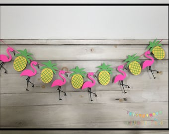 Luau Party Decorations, Hawaiian Party Decorations, Luau Party Supplies, Luau Garland, Flamingo Banner, Pineapple Garland, Luau Banner