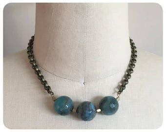 Blue Agate, Antique Gold Chain Collar Necklace