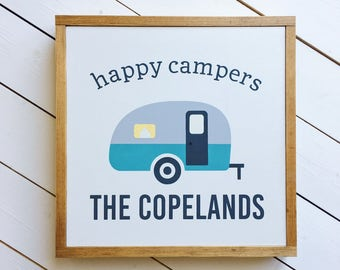 Happy Camper Sign | Personalized Sign | Camping Sign | Happy Camper Personalized Sign | Camper Decor | Travel Trailer Decor | RV Sign